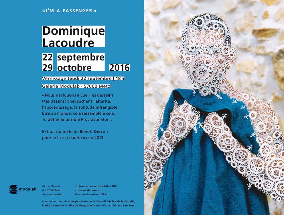 Flyer du vernissage de Dominique Lacoudre