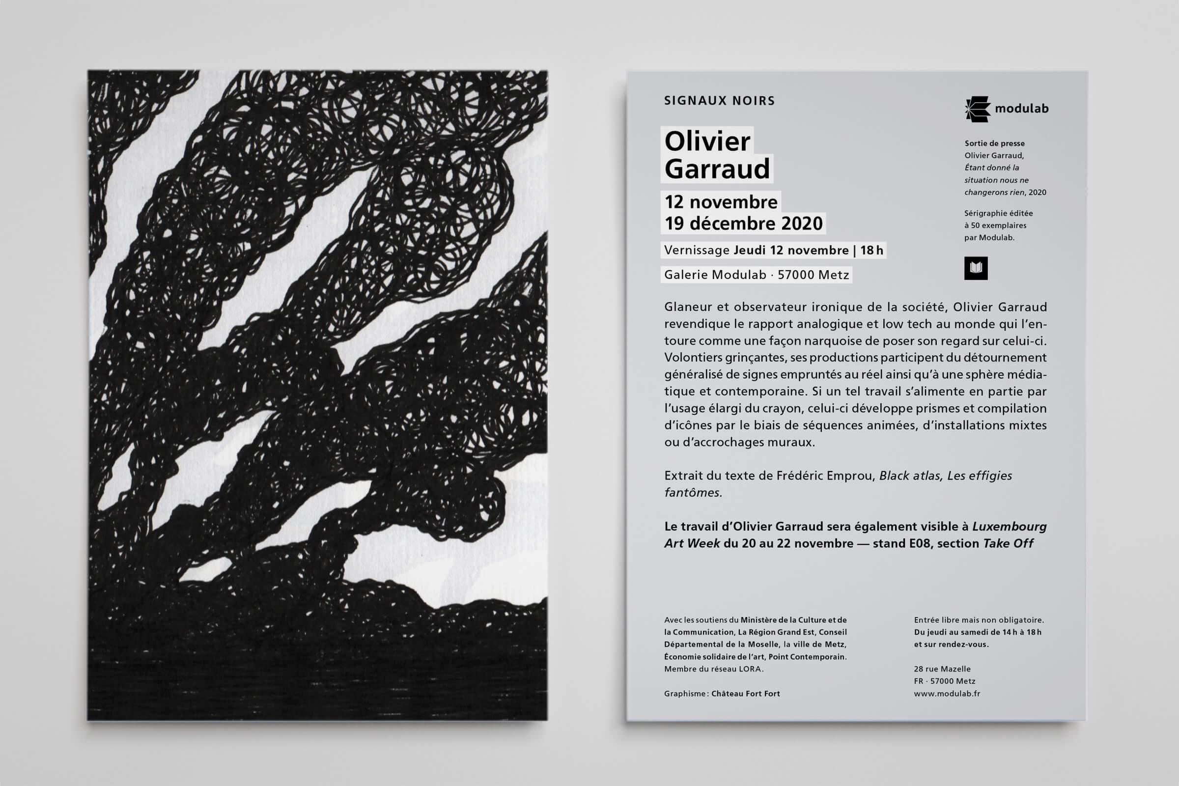 Flyer Exposition Olivier Garraud - Signaux Noirs