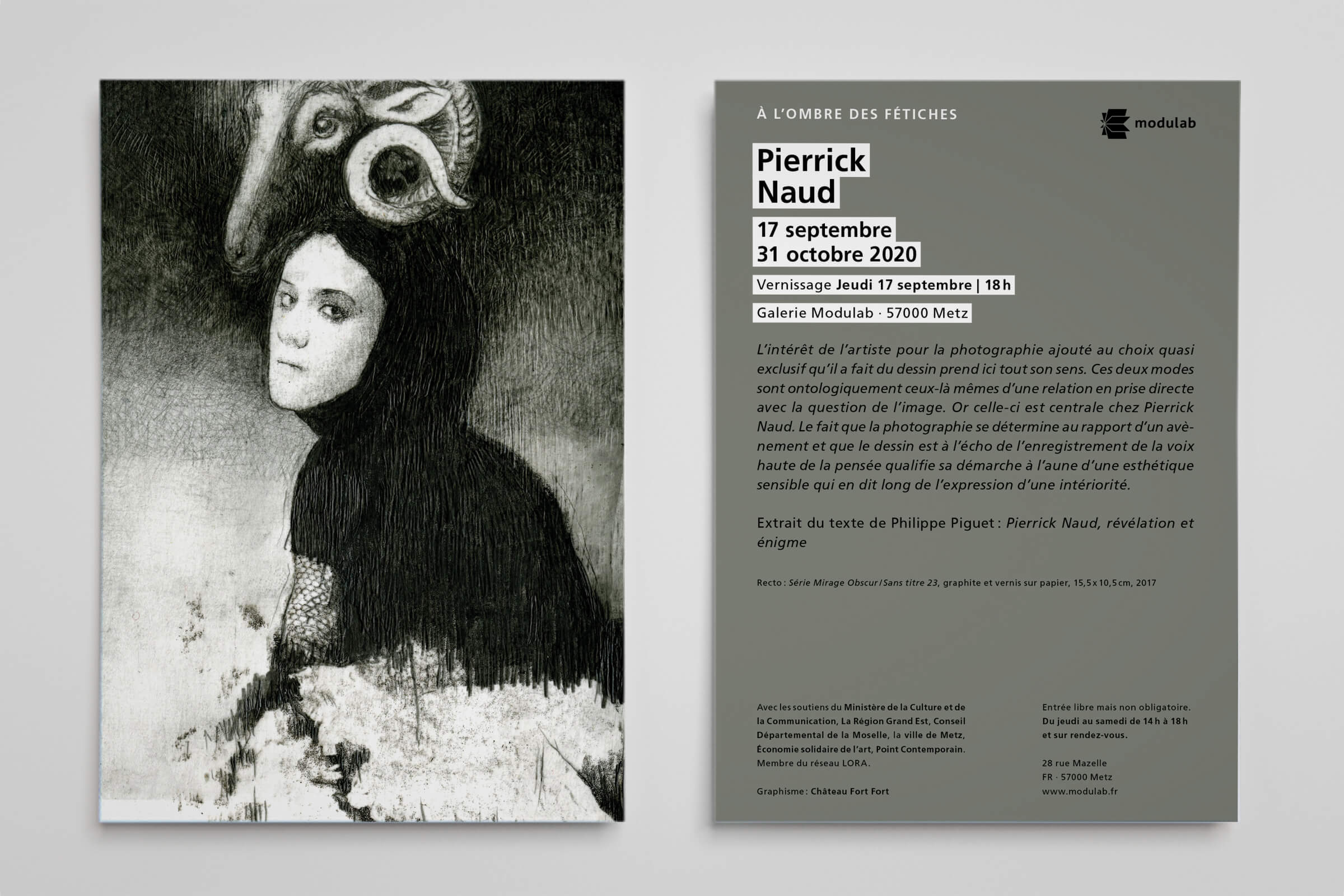 Flyer Exposition - Pierrick Naud - À l'ombre des fétiches